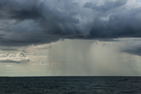 happening: Rain storms are happening at sea.