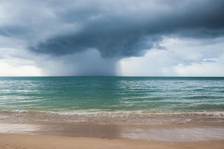 Rain storms are happening at sea.