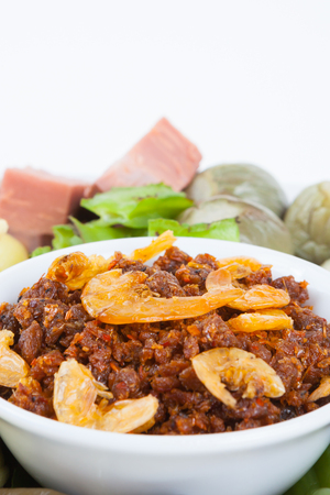 Chili paste(Nam Prik) ,Thai food : Dried Salted Prawn Chili Paste with  mix vegetable.