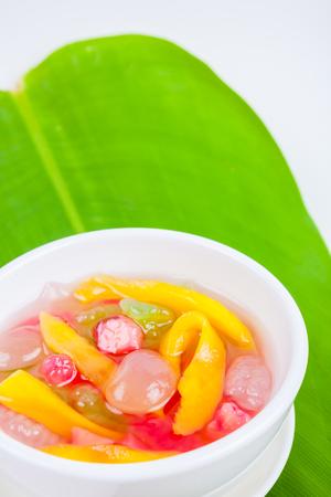 mit: Thai Dessert (ruam mit) colorful ball flour, coconut, milk, jackfruit and truffle Stock Photo