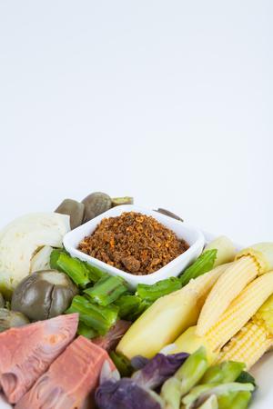Chili paste(Nam Prik) ,Thai food : Grilled Fish Chili Paste with  mix vegetable. Stock Photo