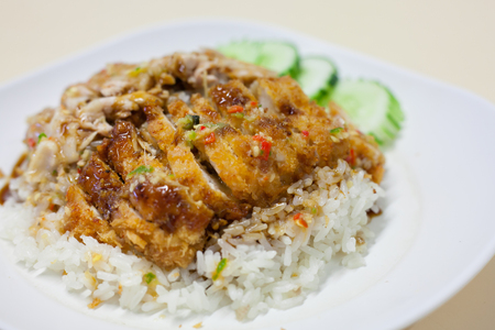 Thai food gourmet fried chicken and steam chicken with rice