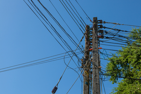 electricity pole in blue sky at thailand