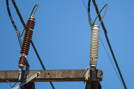 metal grid: High voltage device in countryside of Thailand Stock Photo