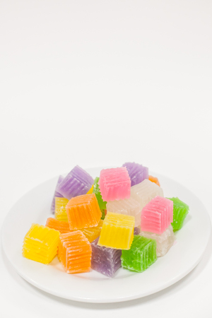 Colorful sweetness jelly candy on white paper background
