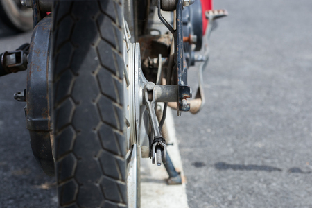 transporte terrestre: old motorcycle rubber tires in Thailand