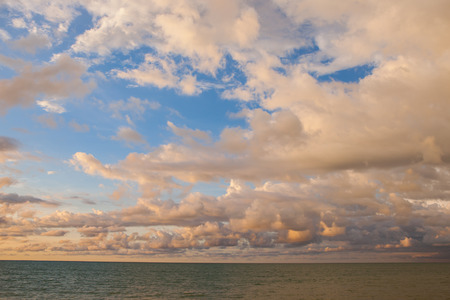 beautiful sunset, sky and clouds before rain coming at Thailand. Stock Photo