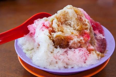 Closeup image of cendol dessert with gula Melaka syrup Stock Photo