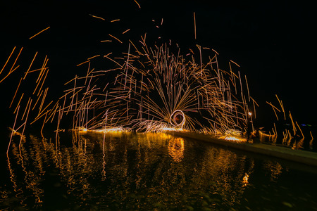 Fire show amazing at night in wedding party.