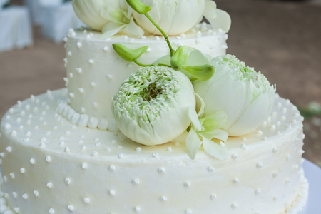 Wedding Cake with Flowers on Top,Thailand Stock Photo