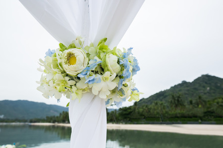 wedding arch on the beach at the south of Thailand.