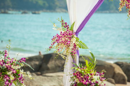 Wedding set up on the beach at Thailand.