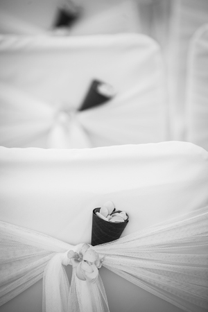 wedding detail (closeup of beautiful wedding decorated on beach wedding setup) Stock Photo