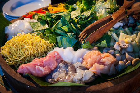 Buffet line in Wedding party dinner on beach,Thailand Stock Photo