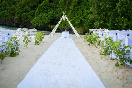 beautiful wedding decorated on beach wedding setup, Thailand