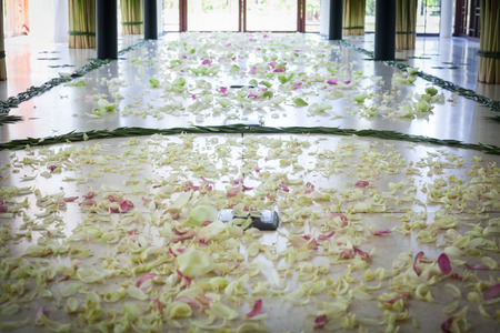 Wedding Aisle With Flower Petals.Wedding At Thailand. Stock Photo ...