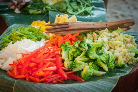 Decoration and vegetable prepared for the wedding dinner party. Stock Photo