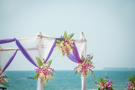 wedding flowers setting on the beach ,Thailand