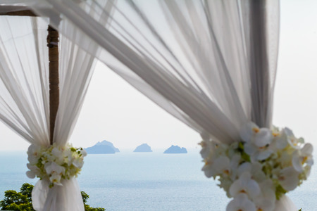 View from wedding setup on Samui Thailand 스톡 콘텐츠