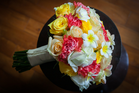 Wedding flowers bouquet of colorful roses. Reklamní fotografie
