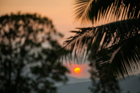 The sun rise in the morning at Samui Thailand. 스톡 콘텐츠