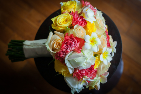 Wedding flowers bouquet of colorful roses. 스톡 콘텐츠