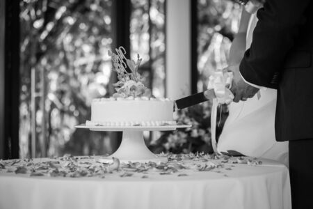hands of bride and groom cut of a slice of a wedding cake(Black and white)