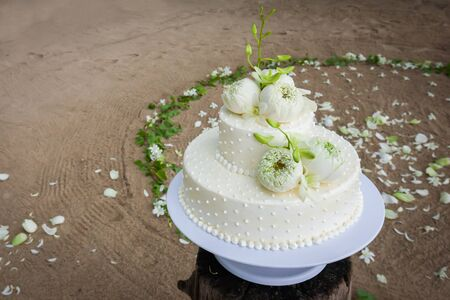 Wedding Cake with Flowers on Top,Thailand.