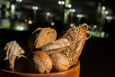 Bread. Food was prepared for the wedding dinner. (Selective focus)