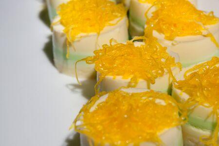 Pandan custard dessert of Thai.  Food was prepared for the wedding dinner. (Selective focus) 스톡 콘텐츠