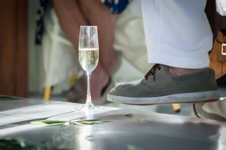Glasses of champagne at luxurious wedding ceremony.