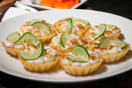 Lemon Meringue Tart. Food was prepared for the wedding dinner. (Selective focus)