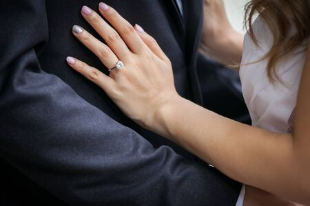 hands of the bride. (Selective focus)
