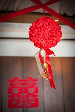 Selective focus of concept image of wedding ceremony of chinese 스톡 콘텐츠