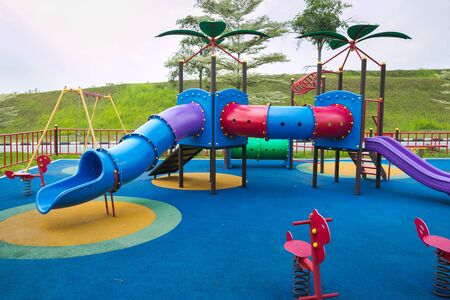 Children outdoor playground onsite car in Malaysia.