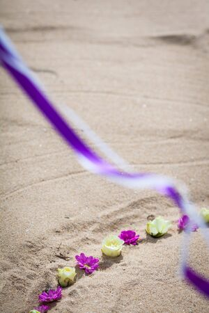 closeup of beautiful wedding decorated on beach wedding setup
