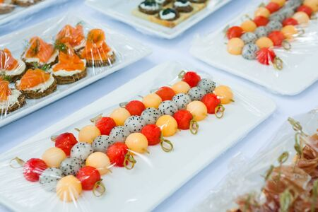 canape set up for wellcome party in wedding ceramony.