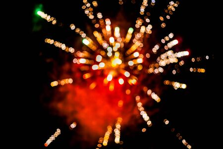 Colorful fireworks.bokeh blur on dark background.