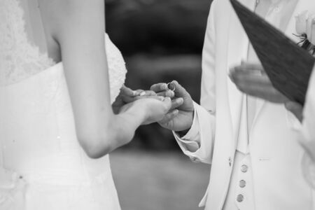 picture of man and woman with wedding ring. (Selective focus)