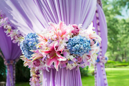 Floral arrangement at a wedding ceremony in Thailand.