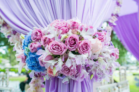 Floral arrangement at a wedding ceremony in Thailand. Foto de archivo