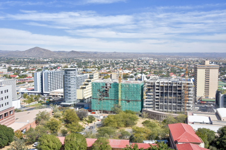 An aerial view of the center of Windhoek the capital of Namibia in Southern Africa on a beautiful bright sunny day against a blue sky 免版税图像 - 97530735