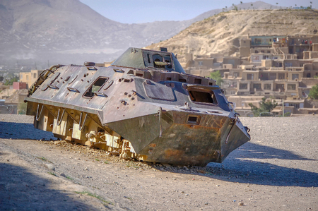 An old military vehicle in the capital of Afghanistan Kabul 免版税图像 - 97530740
