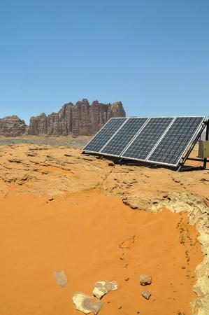 A solar panel used by Bedouins in the desert of Wadi Rum Jordan Middle East as an alternative to diesel generators