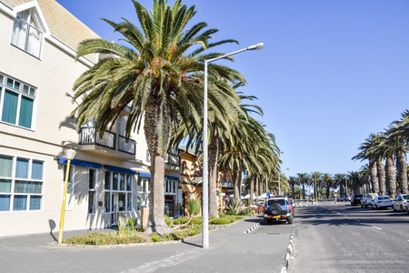 A street view of the historic coastal town of Swakopmund at the Atlantic Ocean in Namibia Southern Africa with its German history 免版税图像 - 97530752