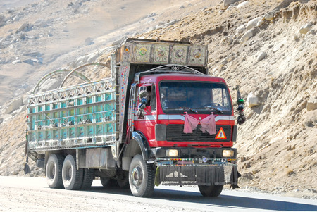 A truck in the Salang Pass in the mountains of Afghanistan in the Hindu Kush connecting the Parwan and Baghlan provinces