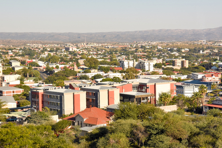 An aerial view of the center of Windhoek the capital of Namibia in Southern Africa