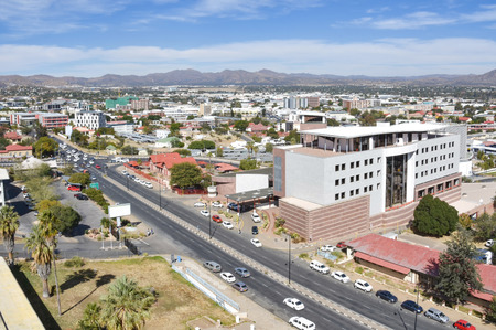 An aerial view of the center of Windhoek the capital of Namibia in Southern Africa on a beautiful bright sunny day against a blue sky 免版税图像 - 97530816