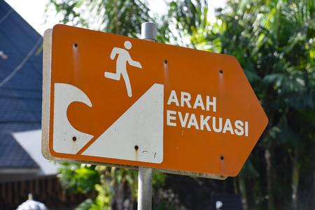 Tsunami evacuation sign in Bali Indonesia