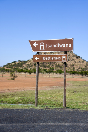 A road sign for the Isandlwana British battlefields in Kwazulu Natal in South Africa 免版税图像